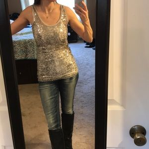 BKE glitter tank top silver and grey size S